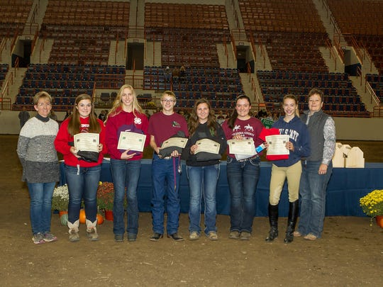 4-H members are recognized for passing Level 3 of the Horsemanship Skills Program. Pictured, from left, are: Tammy Clark, 4-H Horse Program Development Committee chair; Kennedy Fagan, of Columbia County; Morgan Wagner, of York County; Jesse Dillaman, of Butler County; Ashlynn Randolph, of Butler County; Olivia Cornell, of Columbia County; Cassidy Roadarmel, of Northumberland County; and Penn State Extension EducatorDonna Zang, ofButler County. Shane Sorg, of Butler County, was not available for the photo.