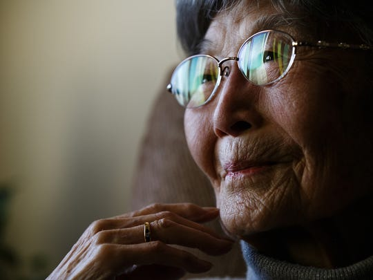95 year old Grace Amemiya talks about her life and experience living in the Japanese internment camps at her home on Thursday, December 10, 2015 in Ames.