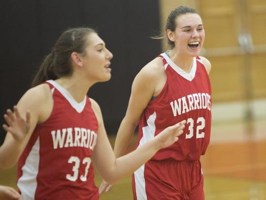 Warriors' teammates Madison Stone, left, and Ashley