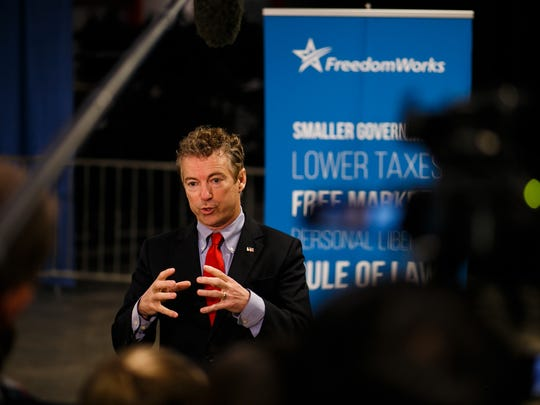 SOMETIMES PRICKLY: Republican presidential candidate Rand Paul speaks to the media before the Rising Tide Summit at The U.S. Cellular Center on Saturday, Dec. 5, 2015, in Cedar Rapids.