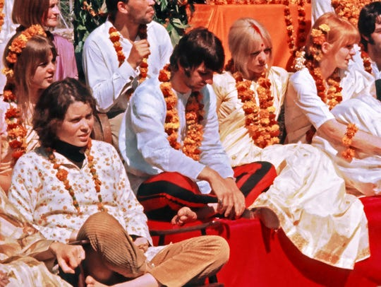 Prudence Farrow with Ringo Starr,The Beatles and their