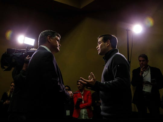 Sean Hannity of Fox interviews Republican presidential candidate Sen. Marco Rubio, R-Fla., before a town hall in West Des Moines at 6:27 p.m. Tuesday, Jan. 26, 2016.