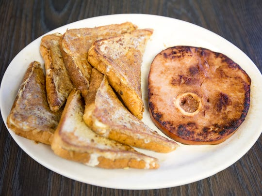 French toast with ham is served at R.D.' s Diner in Stevens Point, Tuesday, Jan. 19, 2015.