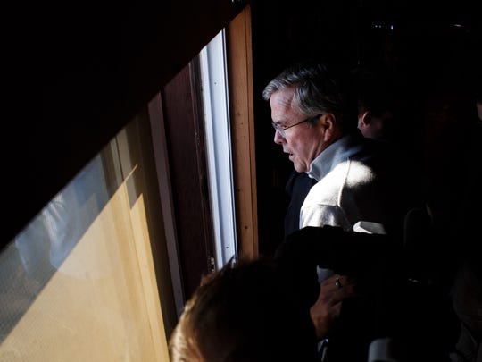 Republican presidential candidate Jeb Bush leaves a