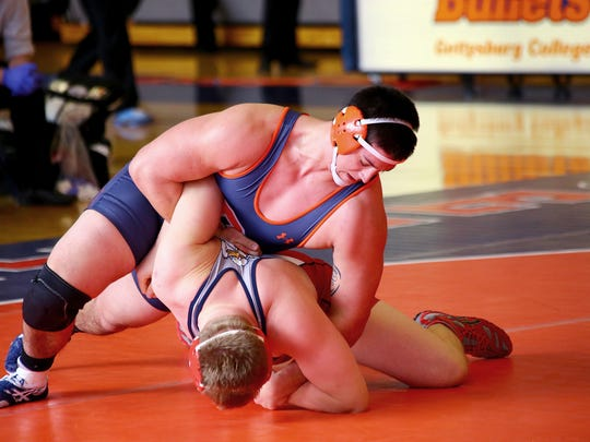 Gettysburg College junior Camden Stoops is battling for the 285-pounds starting spot at the upcoming Centennial Conference championships.