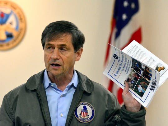 Joe Sestak, former US Navy Admiral and Congressman, visits VFW Post 5265 in Spring Grove while campaigning for the US Senate, Wednesday Feb. 10, 2016. John A. Pavoncello photo