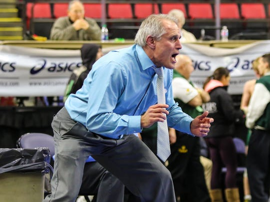 Chenango Forks coach Rick Gumble yells instructions during the 2016 Section 4 Wrestling Tournament at the Floyd L. Manes Veterans Arena in Binghamton.