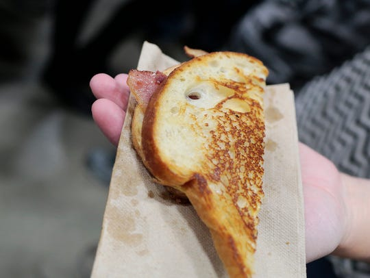 A bacon grilled cheese during the 2016 Blue Ribbon
