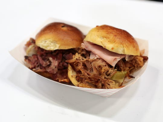 Cuban pork bacon sliders during the 2016 Blue Ribbon