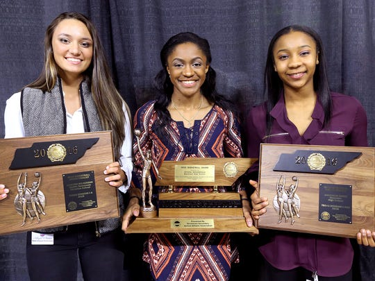 MTCS' Ashlynd Wilkerson, finalist in the Class A Miss Basketball; Blackman's Crystal Dangerfield, winner of Class AAA award; and  Riverdale's Anastasia Hayes, finalist in Class AAA, on Tuesday, March 8, 2016, at MTSU