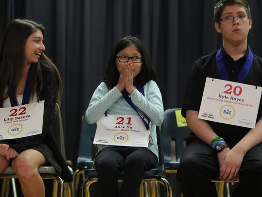 Students from middle schools around Lee County participated in the 19th Lee County spelling bee in 2016 at Three Oaks Middle School.