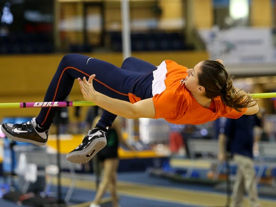 Lucia Mokrasova competes in the high jump