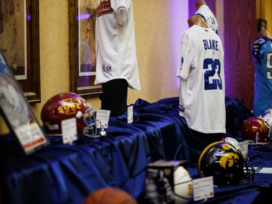 Autographed Casey Blake jersey's sit on the auction table during the reception for his awards dinner on Friday, April 15, 2016, at Prairie Meadows Events Center in Altoona. Blake received the 2016 Robert D. Ray Pillar of Character Award, an award presented annually to an individual who consistently demonstrates good character as a public role model.