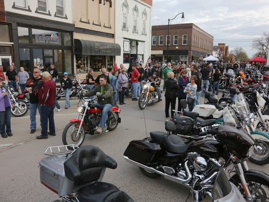 The Indianola square filled with motorcycles and people for the first Bike Down to I-Town event of the season in 2016.