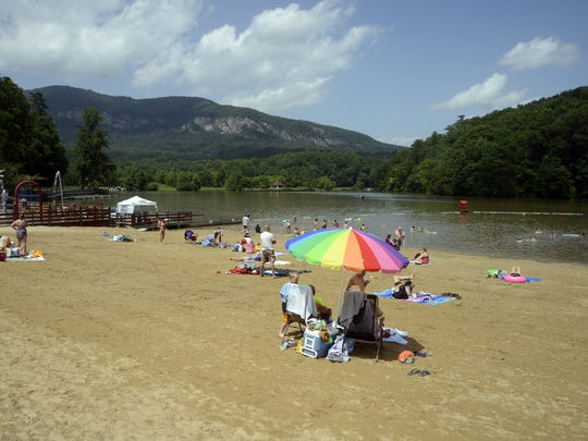 Visitors to Lake Lure will find a beach area with water