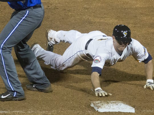 The York Revolution's Josh Wilson dives back to first