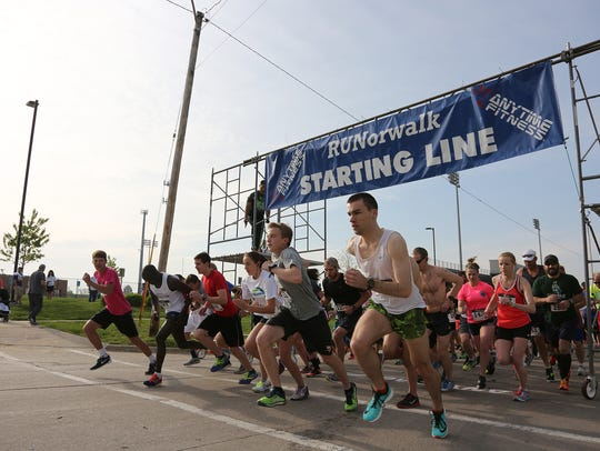 Runners leave the starting line for the 16th annual