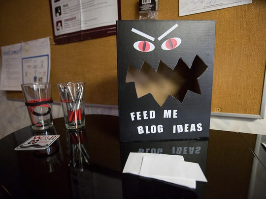 A suggestion box for blog ideas sits out on display at the Wildcard offices in Stevens Point on April 26, 2016.