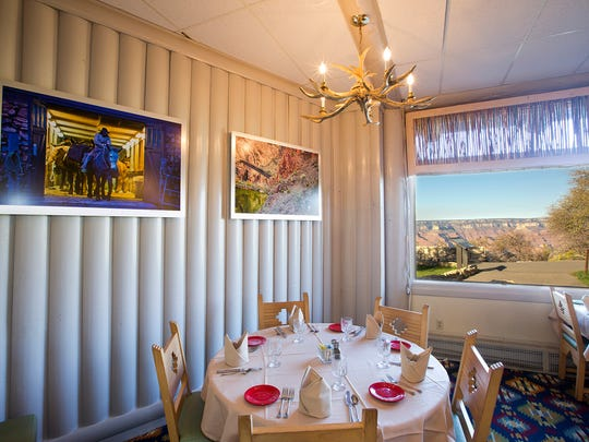 The Arizona Room is located in the Bright Angel Lodge and emphasizes ingredients from within the state including aged hand-cut steaks.  