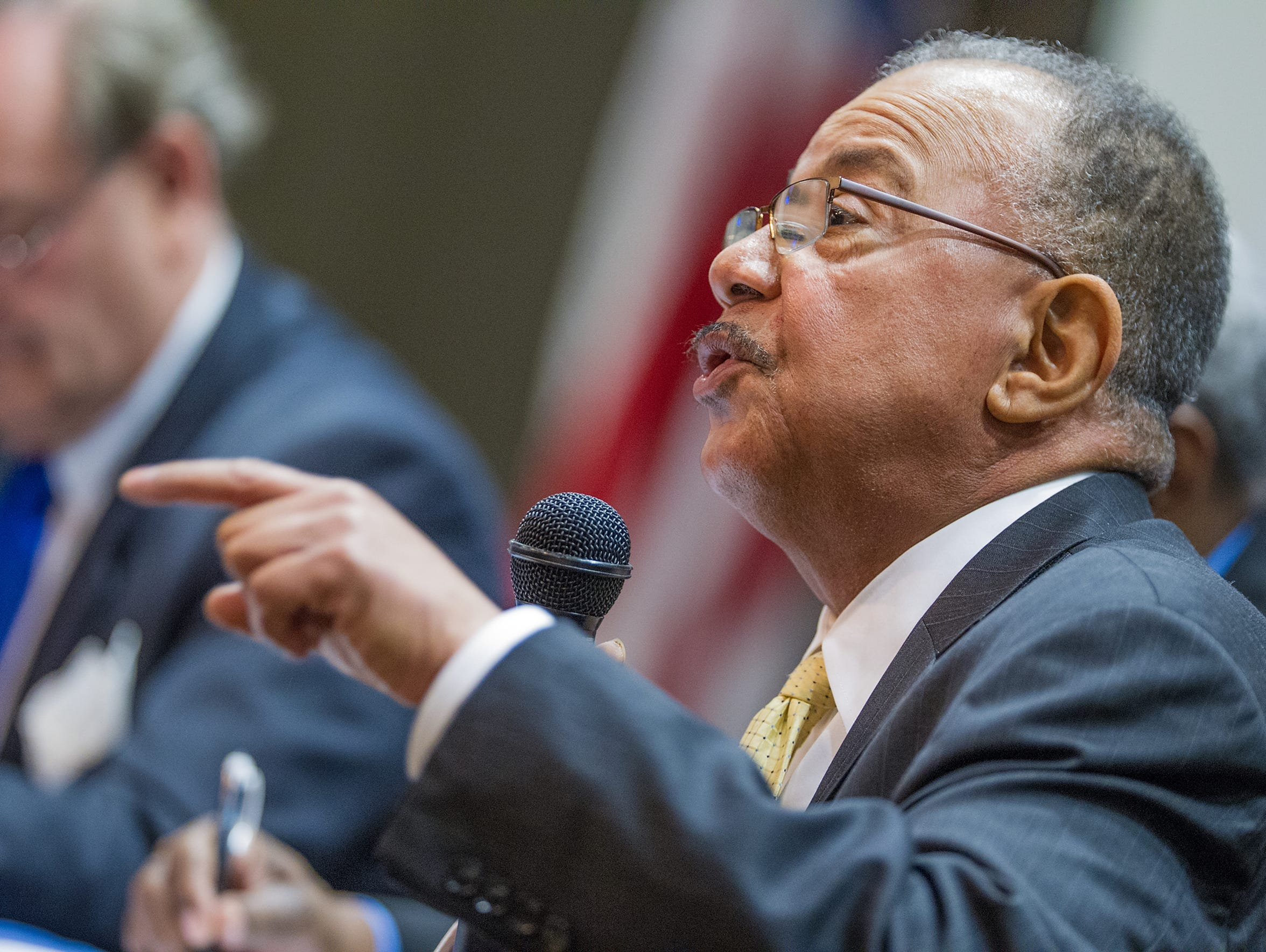 State Rep. J.J. Johnson, D-New Castle speaks during