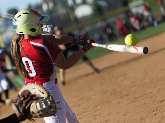 Susquehannock's Lily Yoakum (10) hits the ball during