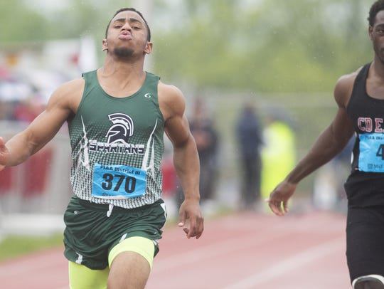 York Tech's Bry'quan Sweeney finishes racing in the