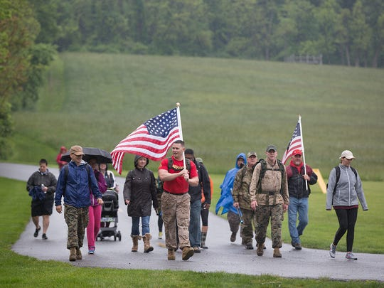 Matt Bryson of Active Heroes led a Carry the Fallen hike Saturday at John C. Rudy County Park.  Active Heroes' mission is to reduce veteran suicide and help military families.