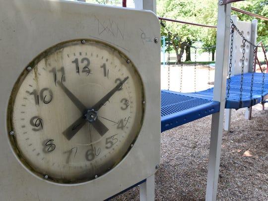 Worn playground equipment at Chambersburg Memorial