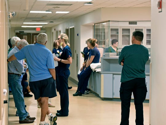 Chambersburg Hospital staff wait for the start of an