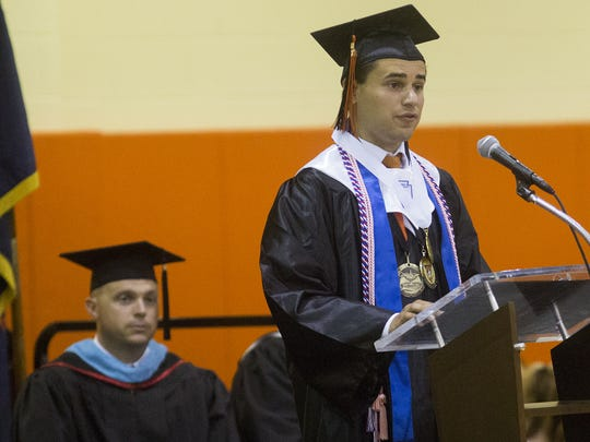 Valedictorian Alexander Feistritzer speaks during the ceremony. Central York High School held its commencement ceremony in the school's gymnasium in Springettsbury Township on Friday night.