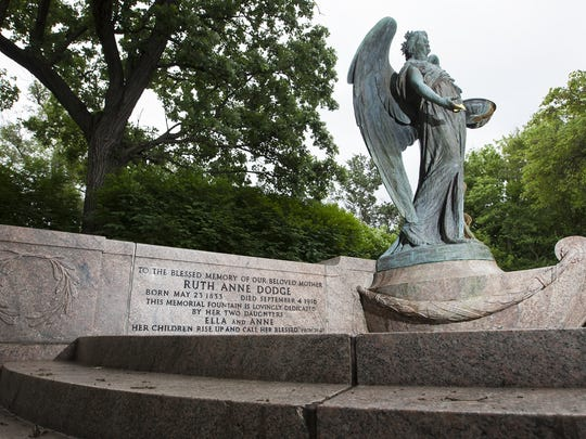 This May 28, 2016 photo shows the Ruth Anne Dodge Memorial, often referred to as the Black Angel in Council Bluffs, Iowa. Council Bluffs officials and resident have spent nearly $10,000 on a 3-D image of a historic statue to ensure the artwork can be restored if it's ever damaged.