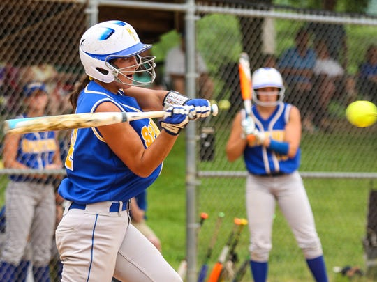 Daniella Dean looks to make contact for Maine-Endwell in the Class A game at BAGSAI on Thursday, June 2, 2016.