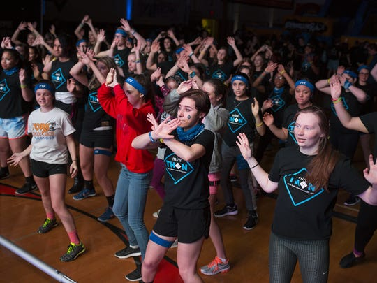 Students dance during the mini-THON at York Suburban High School earlier this year.