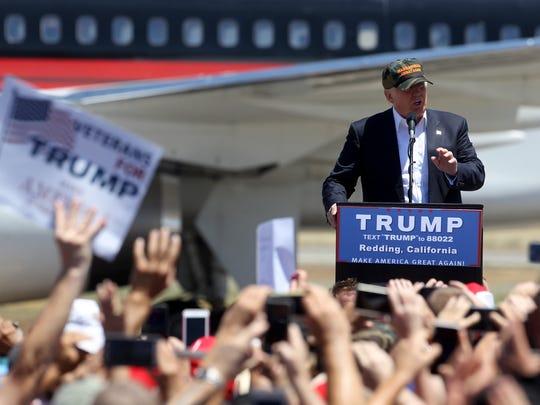Donald Trump speaks in Redding, Calif., on June 3, 2016.