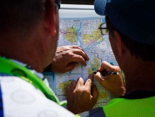 RAGBRAI director TJ Juskiewicz and Route inspection