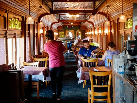 The restored railcar at Clara's Restaurant in Lansing