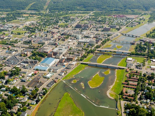 An aerial view of downtown Elmira and the Chemung River in 2014.
