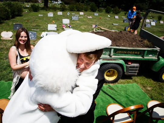 """It helped the pain not be so painful,"" Bobby Leonhard said of having members of the cosplay community join him and his wife Jennifer at the funeral for their son William Leonhard on Saturday, July 16, 2016 in Des Moines. William was stillborn to his parents who wanted the cosplay community to come and help them celebrate."