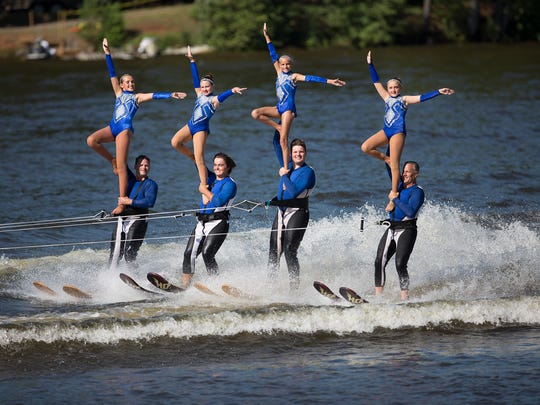 Members of the Aqua Skiers during their performance at the Wisconsin State-Regional Water Ski Show Championship at Lake Wazeecha in Wisconsin Rapids, Friday, July 22, 2016.