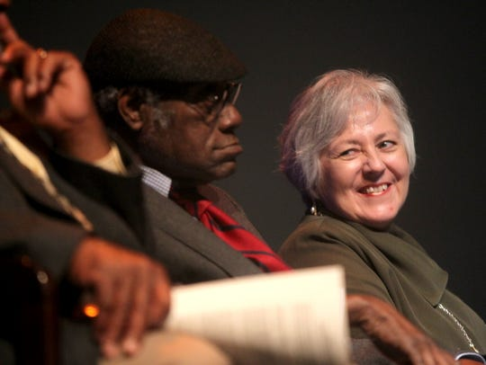 UI President Sally Mason smiles at James Alan McPherson