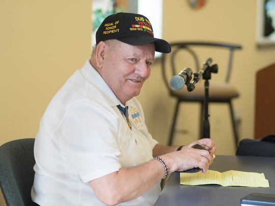 Vietnam War veteran and Medal of Honor recipient Ken Stumpf addresses the American Heroes Cafe at the Lowell Senior Center on Wednesday in Wisconsin Rapids.