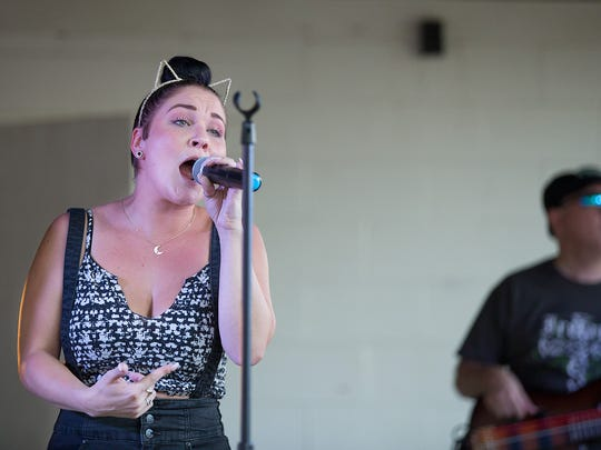 DaNica Shirey performs with Philly's The Big House Band at the Pleasant Hill Carnival Friday, July 29, 2016.