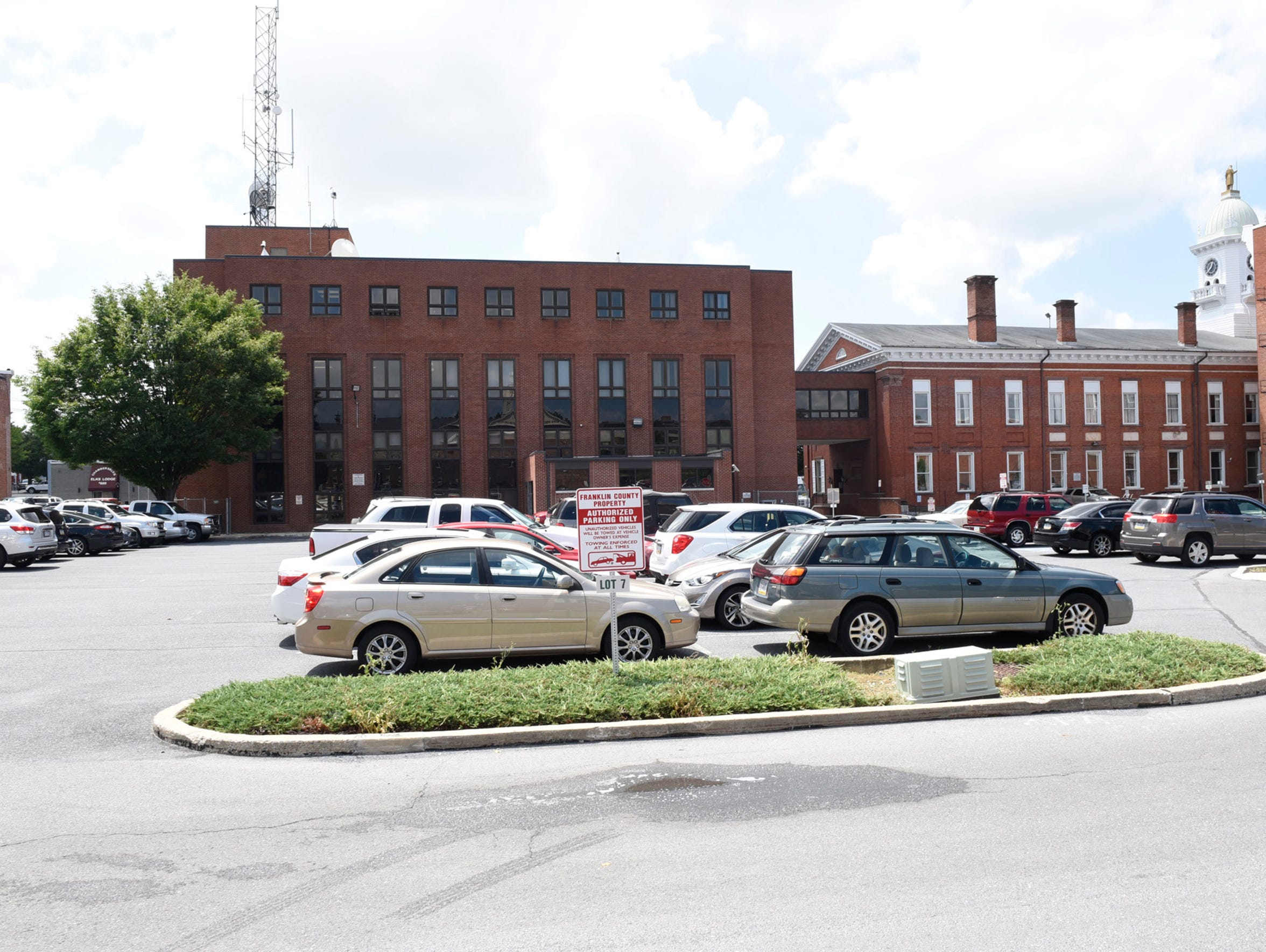 This photo shows the rear of the Franklin County Courthouse Annex, on the left, and the original courthouse, on the right.