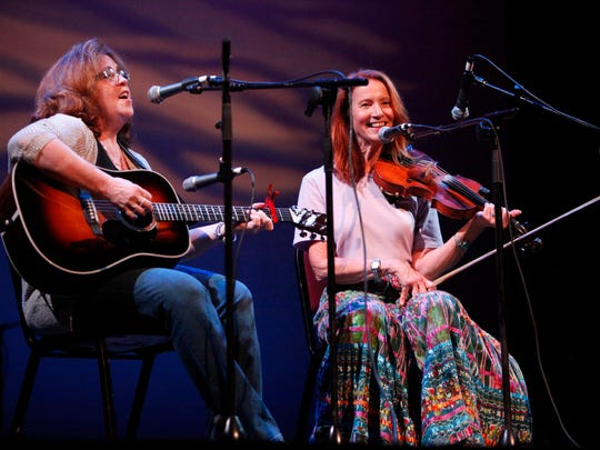 Jeanette Queen, left, and Carol Rifkin perform during the 89th Mountain Dance and Folk Festival at the Diana Wortham Theatre August 4, 2016.