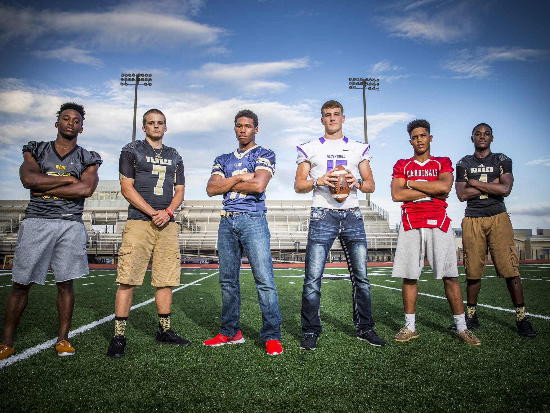 From left, Bryant Fitzgerald, running back for Avon, Zach Summeier, quarterback for Warren Central, Tyrone Tracy, running back for Decatur Central, Hunter Johnson, quarterback for Brownsburg, Blake Evans, wide receiver for Southport and David Bell, wide receiver for Warren Central.