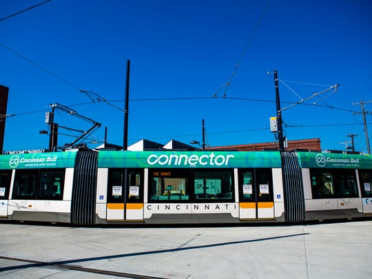 """The Cincinnati Bell Connector leaves the station for its """"first look"""" with new branding."""