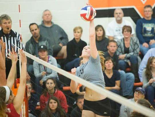 York Suburban's Parker Faircloth-Henise spikes the