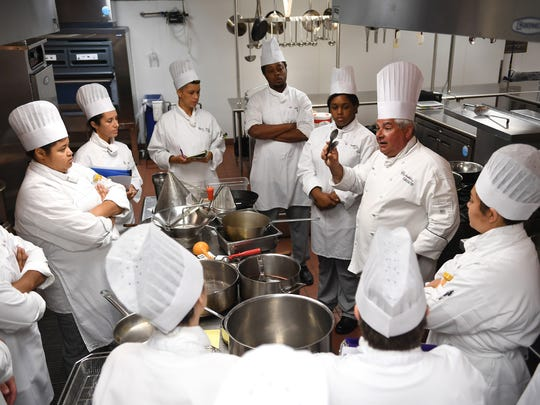 Chef Michael Granata teaches Principles of Food Production I to students of the Culinary Institute of the Carolinas at the Greenville Technical College Northwest campus. The school is launching a new set of module classes that will help expand culinary education to more future and current restaurant industry staff.