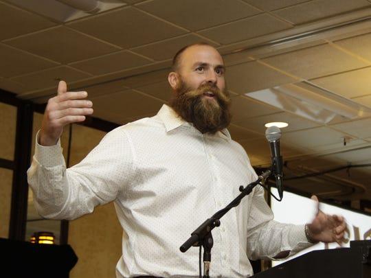 "Brett Keisel, former Pittsburgh Steeler known as ""Da Beard,"" offered an inspirational talk Thursday."