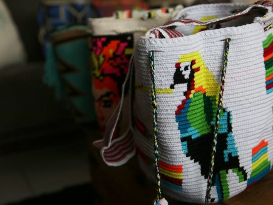 Handmade bags that Thea Mason and Diego Verney sell through their company Lula to support the Wayuu tribe artists in Colombia.